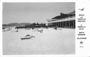 Beach Cabrillo Pavilion 1950s Frasher Santa Barbara California RPPC 5478