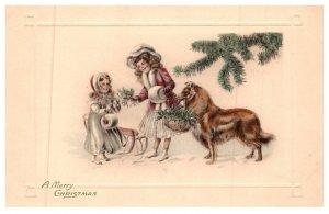 Dog ,  Victorian Girls , Dog, Merry Christmas