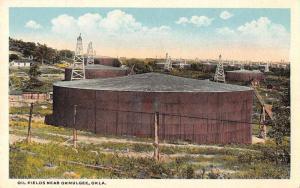 Okmulgee Oklahoma Oil Fields Scenic View Antique Postcard J71105