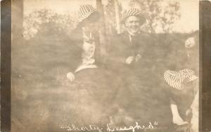 Real Photo Postcard~Shorty Laughed~Perhaps at Their Silly, Striped Hats~1907-18