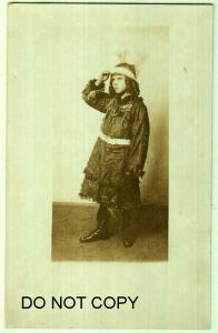 RPPC, Kid Dressed up a Indian, ? Halloween