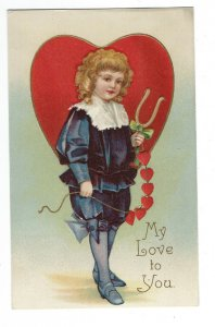 Valentine, Adorable Little Girl Holding Horseshoe Stringer of Hearts Postcard