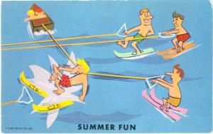 Summer Fun, On Back: Greetings from Wind Gap Pennsylvania PA The Poconos. Chro