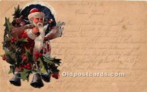 Santa Claus Postcard Old Vintage Christmas Post Card Hand Made,  Santa is pas...