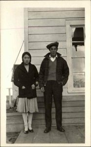 Eskimos Wedding First Graduate of Orphanage Alaska? Real Photo Postcard
