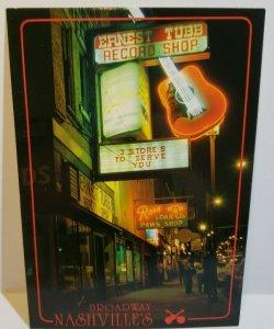 Vintage Postcard Broadway Nashville Music City Neon Night Ernest Tubbs 1988  741