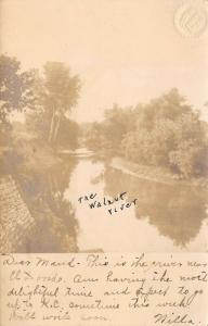 El Dorado Kansas~Walnut River~Brick/Stone Riverbank~1906 Real Photo~RPPC