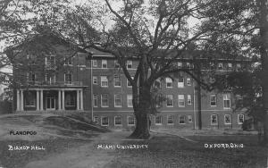 OXFORD, OHIO BISHOP HALL-MIAMI UNIVERSITY-1913 RPPC REAL PHOTO POSTCARD
