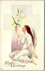 1910s EASTER Embossed Postcard Pretty Angel Girl / Lily Flower STECHER #4C