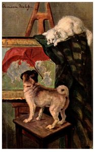 Dog , and Cat, Painting on Eaesel