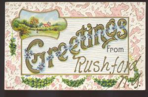 GREETINGS FROM RUSHFORD NEW YORK VINTAGE POSTCARD HOUGHTON NY