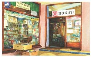 Bokin Reykjavik Iceland Bookstore Book Shop Oil Painting Postcard