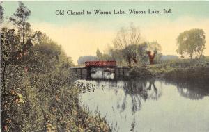 Winona Lake Indiana~Old Channel to Winona Lake~People Boating behind Bridge~1910