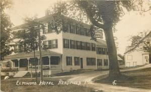 Redfield Maine~Spencer Reserved Elmwood Hotel Sign on Tree~Fancy Porch~RPPC 1921