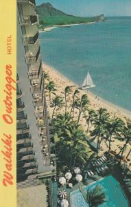 Waikiki , Hawaii , 50-60s; OUTRIGGER HOTEL, Swimming Pool, Beach Front, Sailboat