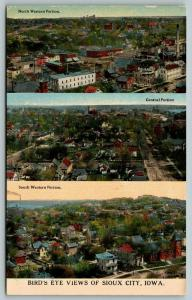Sioux City Iowa~City Panorama~3 Birdseyes~North & South Western~Central~c1910