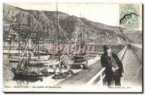 Menton Old Postcard The pier and Garavan