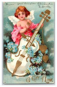 VALENTINE  cupid playing bass guitar