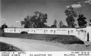 Autos Billings Montana Circle S Motel roadside RPPC Photo Postcard 9832