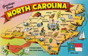 NORTH CAROLINA State Outline, Map, 1950-1960s