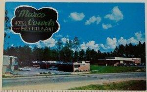 Marco Hotel Courts Restaurant 1950s Postcard Hattiesburg MS US Hwy 11 Roadside