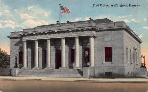 Post Office, Wellington, Kansas, Early Postcard, Used in 1916