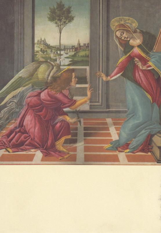ART PAINTING POSTCARD BOTTICELLI THE ANNUNCIATION ANGEL
