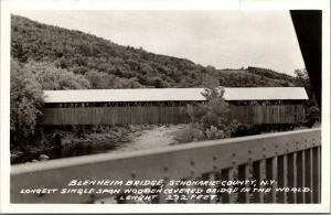 Blenheim-Schoharie Co NY~World's Longest Single-Span Covered Bridge~1940s RPPC