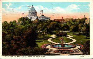 Minnesota St Paul State Capitol and Central Park 1929 Curteich