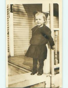 Pre-1918 rppc GIRL WITH BOW IN HAIR & BUTTON SHOES Bowling Green Ohio OH v5179