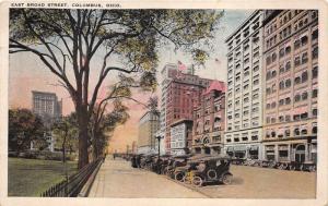 Columbus Ohio~East Broad Street~Tall Buildings~Parked Cars~Park? Area~1942 Pc