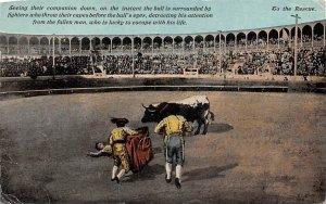 Seeing their companion down, Bull fight Mexico Tarjeta Postal 1915