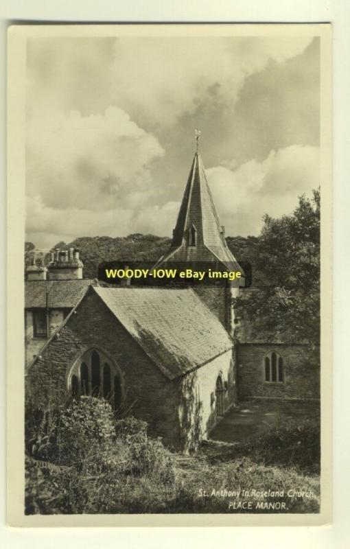 cu1003 - St Anthony in Roseland Church , Place Manor , Cornwall - postcard