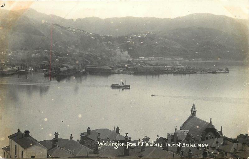 RPPC Postcard Wellington  NZ From Mt. Victoria Tourist Series 1489 New Zealand