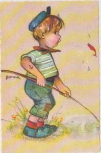 BONNIE: Boy in Blue Hat Fishing w/ Cane Pole, Shocked by Fish Jumping Up Out ...