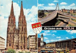Gruesse aus Koeln, Dom Cathedral Front view Bridge Highway Auto Busses Cars