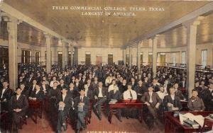 Tyler Texas~Tyler Commercial College~Assembly Hall Interior~90% Men~1910 PC