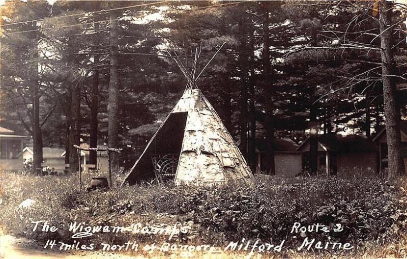 Milford ME Wigwam Camps Native American Indian Teepee RPPC