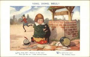 Nursery Rhyme - Boy Puts Cat in Well Little Johnny Green Poem c1910 Postcard