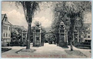 SOUTH HADLEY, MA  Field Memorial Gateway MT. HOLYOKE COLLEGE 1916 Postcard