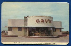 Gay's Cafe Restaurant in Childress Texas old postcard #1