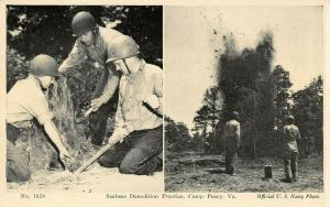 Camp Peary Virginia~US Navy Seabees Demolition Practice~1940s WWII B&W Postcard