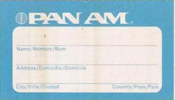 PAN AMERICAN AIRLINES VINTAGE AVIATION TAG