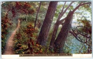 LAKE GENEVA, Wisconsin  WI    A LANDMARK Conference Point ca 1910s   Postcard