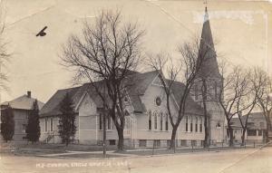Eagle Grove Iowa~M E Church Corner Street View~Bare Trees~c1930s RPPC