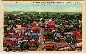 PARKERSBURG, West Virginia  WV    Birdseye from Ft. Boreman  c1940s  Postcard
