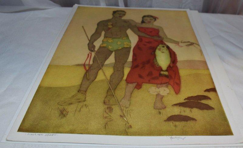 Fisher Man, Hawaii, Illustrated by John Kelly, Royal Hawaiian Menu 1948
