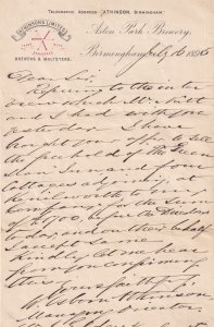 Birmingham Atkinsons Brewery Alcohol Beer Antique Victorian Letter