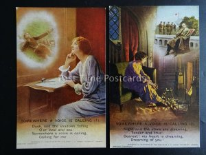 SOMEWHERE A VOICE IS CALLING - WW1 Bamforth Song Cards set of 2 No 4794
