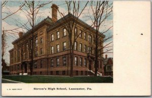 LANCASTER Pennsylvania Postcard Steven's High School Building View 1949 Cancel